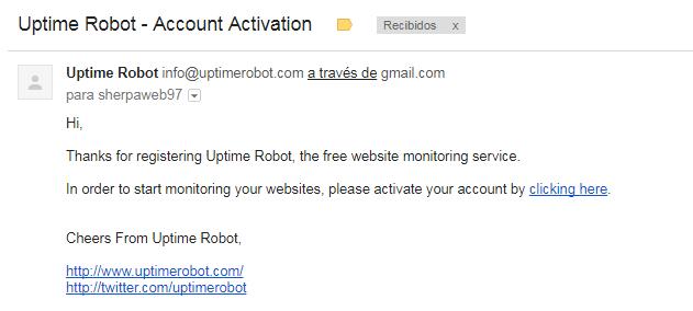confirmacion de registro en uptimerobot